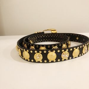 Auth GIANNI VERSACE medusa black leather gold belt